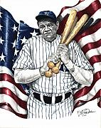 New York Yankees Drawings Originals - We Need A Hero Again by Kelvin Winters