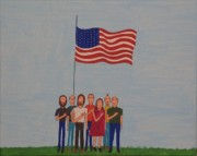Patriots Painting Prints - We Pledge Print by Gregory Davis