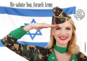 Girls Mixed Media - We Salute You Israeli Army by Pin Up  TLV