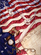 4th July Painting Prints - We The People Print by Sher Sester