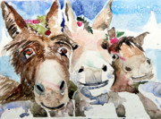 Donkey Drawings Framed Prints - We Three Wise Asses Framed Print by Mindy Newman