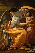 Gold Angel Posters - Wealth Poster by Simon Vouet