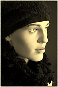 Artistic Portraiture Framed Prints - Wearing Knit Framed Print by Sophie Vigneault