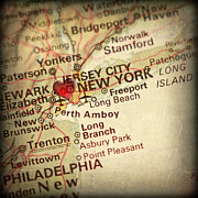 New York City Map Prints - Weathered Antique Map in a Grunge Vintage border with a Heart of Print by ELITE IMAGE photography By Chad McDermott