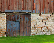Old Doors Framed Prints - Weathered Barn Door Framed Print by Perry Webster