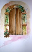 Door Paintings - Weathered Door of Greece by Therese Alcorn