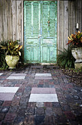 Colored Stones Framed Prints - Weathered Green Door Framed Print by Sam Bloomberg-rissman