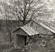 Tin Roof Posters - Weathered Hillside Barn Poster by John Stephens