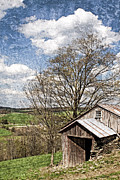 Tin Roof Posters - Weathered Hillside Barn Spring Poster by John Stephens