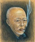 Old Face Drawings Framed Prints - Weathered Oriental Smoker Framed Print by Linda Nielsen