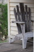 Debbie Karnes Framed Prints - Weathered Porch Chair Framed Print by Debbie Karnes