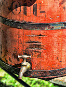 Rural Living Posters - Weathered Red Oil Bucket Poster by Paul Ward
