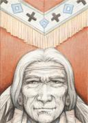 Native Chief Drawings - Weathered Wisdom by Amy S Turner