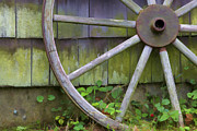 Wood Shingles Posters - Weathered Wood Wagon II Wheel Poster by David Letts
