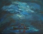 Couple Hugging Paintings - Weathering The Storm by Leslie Allen
