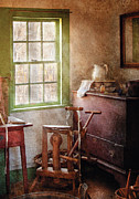 Spindle Prints - Weaving - In the weavers cottage Print by Mike Savad