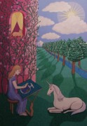 Unicorn Paintings - Weaving Peace by Karen MacKenzie