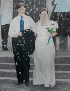 Wedding Reception Paintings - Wedding Bubbles by Karen Brannon