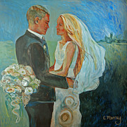 Bride And Groom Paintings - Wedding Day by Beth Welsh
