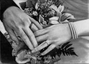 Hands Drawings Metal Prints - Wedding Hands Metal Print by Doug Strickland