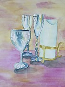 Champagne Paintings - Wedding Memories by Sandra Frosst