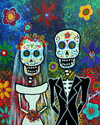Day Of The Dead Posters - Wedding Muertos Poster by Pristine Cartera Turkus