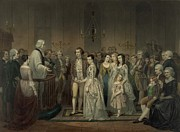 Group Portraits Framed Prints - Wedding Of George Washington And Martha Framed Print by Everett
