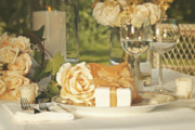 Serve Art - Wedding party favors on plate at reception by Sandra Cunningham