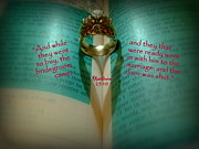 Holy Ring Prints - Wedding Ring Scripture Art Matthew 25 Print by Cindy Wright