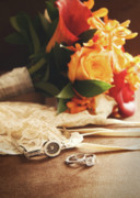 Concept Photo Metal Prints - Wedding ring with bouquet on velvet  Metal Print by Sandra Cunningham