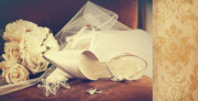 Elegant Bride Framed Prints - Wedding shoes with veil on velvet chair Framed Print by Sandra Cunningham
