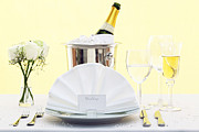 Sparkling Wine Photo Posters - Wedding table place setting  Poster by Richard Thomas