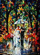Rain Painting Framed Prints - Wedding Under The Rain  Framed Print by Leonid Afremov