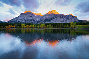 Alberta Rocky Mountains Posters - Wedge Pond sunrise Poster by Ginevre Smith