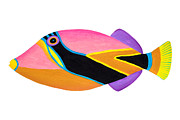 Triggerfish Painting Posters - Wedge tail Triggerfish  Poster by Opas Chotiphantawanon