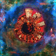 Night Scene Prints - Wee Manhattan Planet - Artist Rendition Print by Nikki Marie Smith