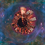 Panoramic Digital Art - Wee Manhattan Planet by Nikki Marie Smith