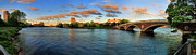 Charles River Framed Prints - Weeks Bridge Panorama Framed Print by Rick Berk