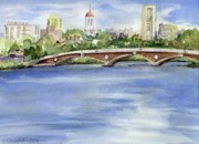 Charles River Paintings - Weeks Footbridge over the Charles River by Erica Dale Strzepek
