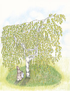 Sympathy Drawings Metal Prints - Weeping Birch Metal Print by Elaine Read-Cole