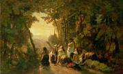 Bible Painting Prints - Weeping of the Daughter of Jephthah Print by Narcisse Virgile Diaz de la Pena