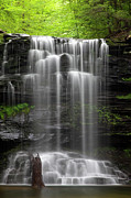 Water Flowing Posters - Weeping Wilderness Waterfall Poster by John Stephens