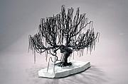 Winter Sculptures - Weeping Willow Wire Tree Sculpture by Mark Golomb