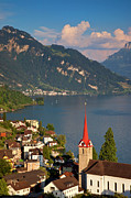 Lucerne Art - Weggis Switzerland by Brian Jannsen