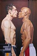 Boxer  Painting Prints - Weighin Staredown Print by Kenneth Kelsoe