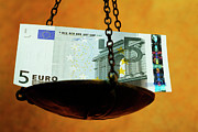 Finances Posters - Weighing Euros Poster by Sami Sarkis