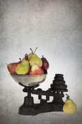 Text Photo Posters - Weighing pears Poster by Jane Rix