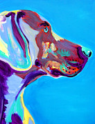 Bright Metal Prints - Weimaraner - Blue Metal Print by Alicia VanNoy Call