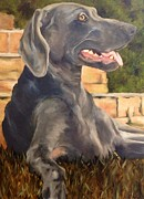 Brick Paintings - Weimaraner by Betsy Doody
