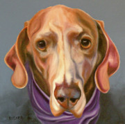 Animal Drawings Prints - Weimaraner with Kerchief Print by Susan A Becker